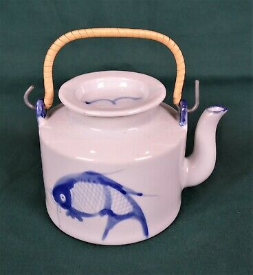 Vintage Chinese Porcelain Teapot Koi Fish Carp Blue and White