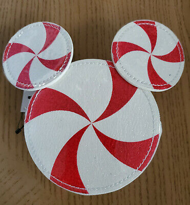 Disney Parks Holiday Candy Cane Peppermint Coin Change Bag Purse