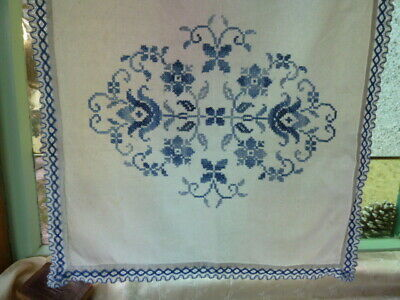 Pretty Vintage French Hand Sewn Cross Stitch Embroidery Curtain Panel Or Blind