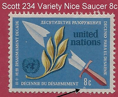"""UN Scott #234 Beautiful Saucer Under The 8c Value """"Variety"""" Mint Never Hinged"""