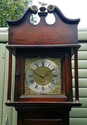 18thC Welsh Cottage LONGCASE CLOCK Walton of Cowbridge Brass Face 30hr