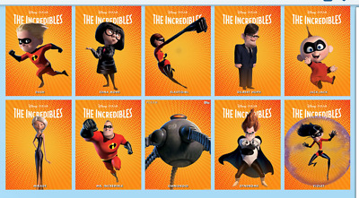 Topps Disney Collect Card Trader Incredibles 15th Anniversary Character Set  10