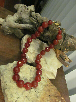 Gold over 925 Sterling Silver Faceted Carnelian Beads Beaded Knotted Necklace