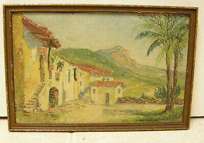 Antique Oil Painting Missionary Mountain Landscape El Norte Mexico Signed Hoppe