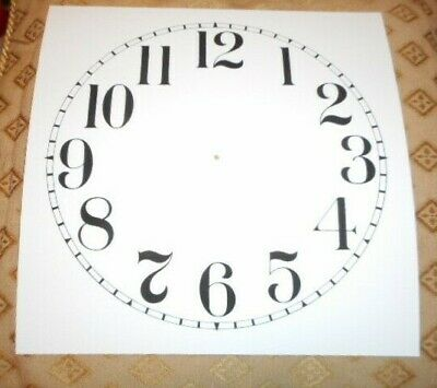 "Large Paper (Card) Clock Dial - 12"" M/T -  Arabic - MATT WHITE - Parts/Spares"