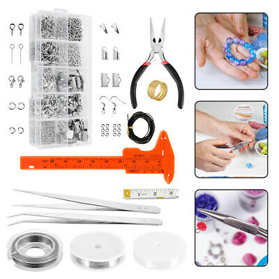 Findings Set Pliers Silver Beads Tool Set Wire Starter Jewellery Making Kit DIY