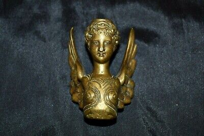 Antique Victorian WINGED WOMAN Ornate Bronze Decorative Part Hardware