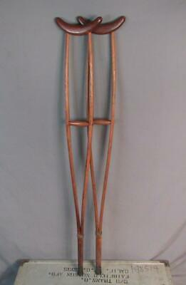 Vintage Horns Standard Wooden Crutches Turn Of The Century Medical Antique Nice!