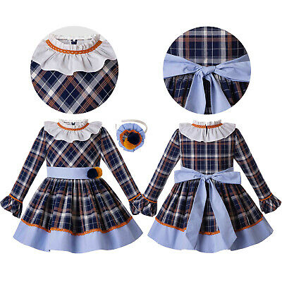 Kids Girls Tartan Spanish Pleated O-Neck Dress Belted Bow Birthday Party Pageant
