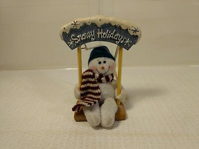 Snowy Holidays Snowman On Swing Window Hanger Christmas Decoration ch401