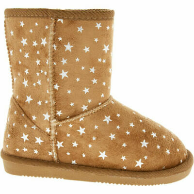 PINEAPPLE Girl's Ankle Tan Star Huggy Winter Boots size: uk2/eu18. rrp: £38. new