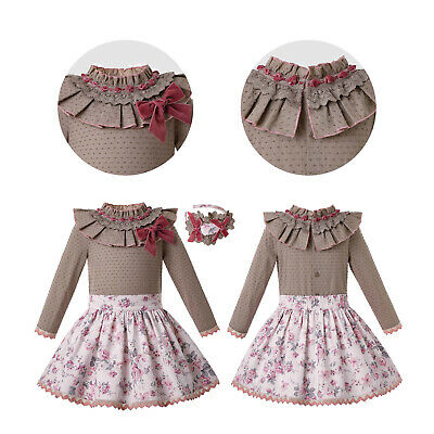 Spanish Kids Girls Floral Bow Princess Tops+Skirt+Headband Sets Pageant Wedding
