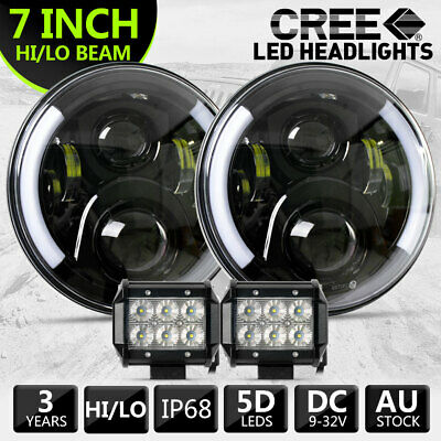 7inch 200W CREE Round LED Headlight For Jeep Wrangler TJ JK 97-17 +2x4inch Flood