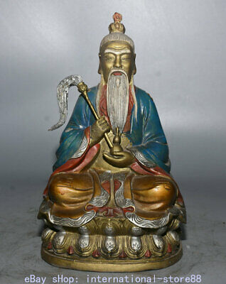 "9.6"" Old Chinese Bronze Painting Taoist School Taoist priest immortal Statue"