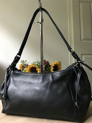 Tula black genuine leather small handbag hobo shoulder bag