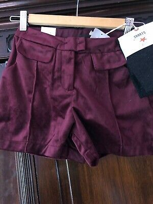 NEXT Girls Burgundy Velvet Shorts with Sparkly Tights Age 9 Adjustable WaistBNWT