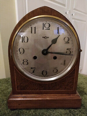 An Antique 1920s Wooden Mantel Clock by Kienzle in full working condition