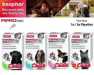 Beaphar FIPROtec Combo Spot On Flea Tick Treatment Solution For Cat Dog - S M L