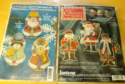 2 JANLYNN counted cross stitch Christmas Ornament Kits Bear Ourson 140-168 NEW