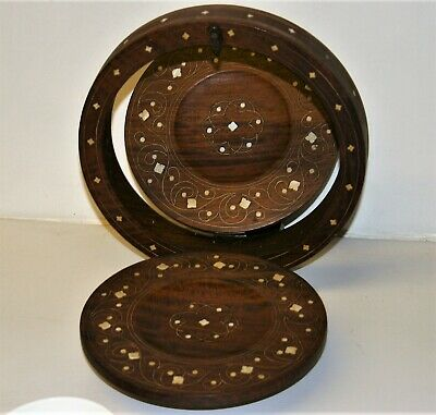Antique Wooden Folding Tray Inlay Decorated Cake Dish Canapes Picnic Camping