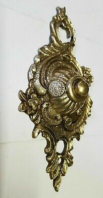 Vintage Old Brass Bell Push Button Ornate French Manor Hall Mansion So Impacting