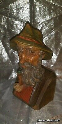 Black Forest Wood Carved Hand-Crafted German Man (Bust).w/Pipe