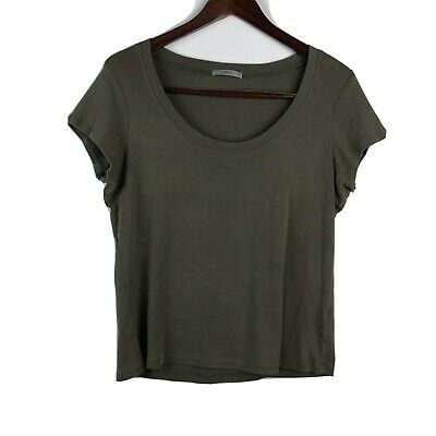 Marks & Spencer Size UK 18 US 1x Crop Top Knit Stretch Olive Army Green Casual
