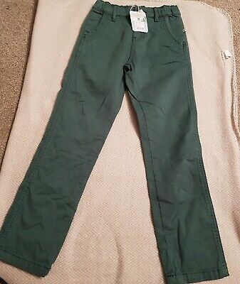 BNWT boys Frugi Green Spruce Forester Chino Trousers 6-7 Yrs