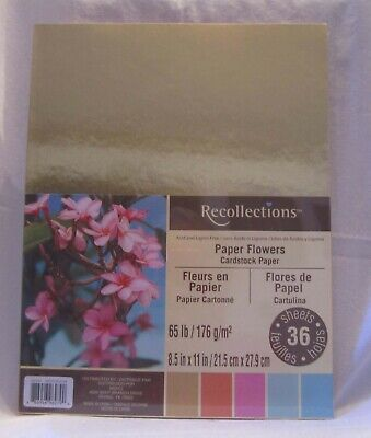 Recollections PAPER FLOWERS 65 lb Cardstock Paper 36 Sheets New