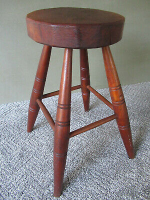 "Antique Stool Primitive Vintage Walnut Wood, 18"" Tall 9-1/2"" Round Seat, Stand"