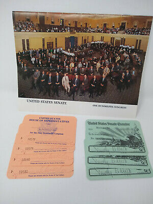 100th Congress Visitor Pass Senate & House Timothy Wirth & Patricia Schroeder CO