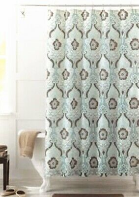 Better Homes Fabric Shower Curtain 72x72 Newcastle Flowers Polyester Brown White