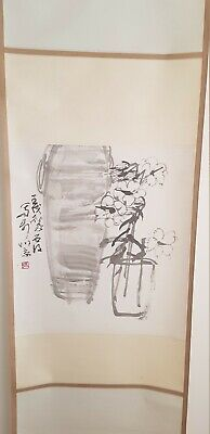 Old Chinese Hanging Paper Silk Scroll Painting Beautiful Flowers