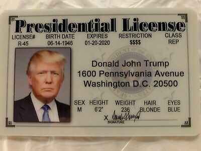 Donald Trump Presidential License Novelty ID Drivers MAGA President DC