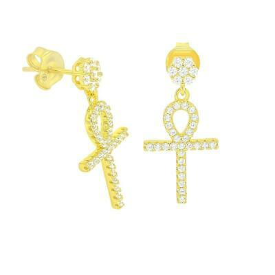 Unisex 925 Sterling Silver Egyptian African Ankh Hanging Cross CZ Studs Earrings
