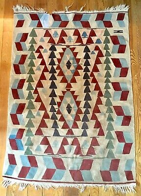 Antique Old 19th Century Turkish Kilim Hand Woven Rug Amazing Geometric Pattern
