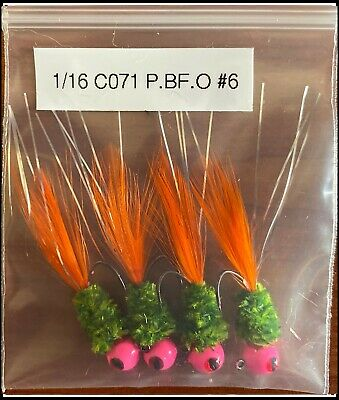 Hand Tied 1//16 Crappie Hackle Tail Jigs Orange Bumble Berry Gray Black 6 Count