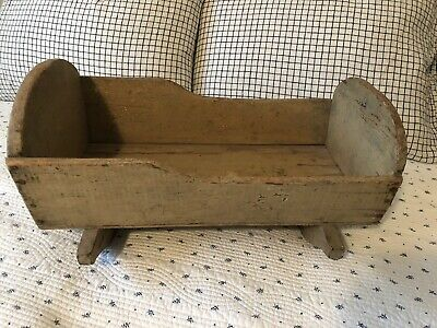 Early Antique Primitive Wood Original Mustard Painted Toy Doll Cradle