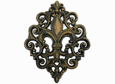 Cast Iron Fleur De Lis Wall Plaque, Metal Art, Old World, Tuscan, Kitchen French