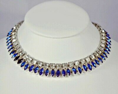 VINTAGE Marine Blue/Clear PASTE CHOKER NECKLACE_STERLING Setting_1940's Art Deco
