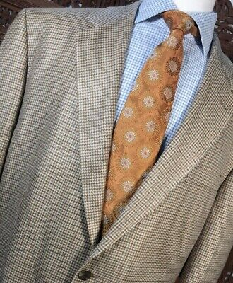 Ralph Lauren Men Sz: 46L Tan Brown 100% Silk Houndstooth Sportcoat Blazer Jacket