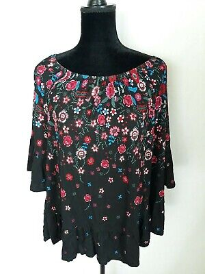 Style & Co. Womens Black Floral Print Daytime Blouse Top Plus 1X WS-311