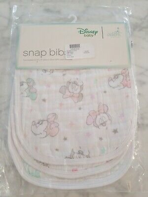 New sealed Aden + Anais Disney Baby Snap Bib 3X- Pack Minnie Mouse