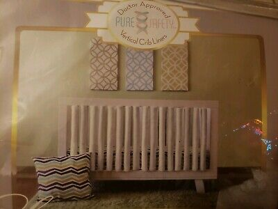 Pure Safety Vertical Crib Liners 24 Pack in Luxurious Grey Minky