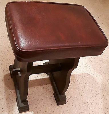 "Small stool (16"" high) older peg-jointed base, top/seat is recent w/faux-leather"