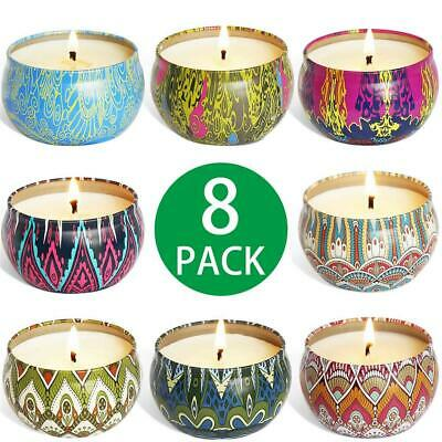 8 Pieces Scented Candle Vanilla, Lavender, Pink, Soy Wax Scented Candles Set wit