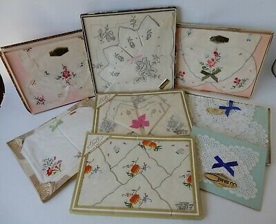 Vintage Retro 60s BULK LOT DUCHESS SETS Embroidered Doylies/Serviette/Tablecloth