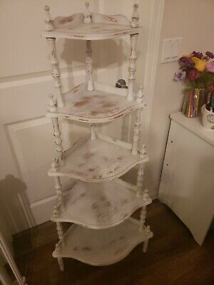 Vintage White Wooden 5 Tier Shelf Corner Stand Bookcase Curio Trinkets Plants