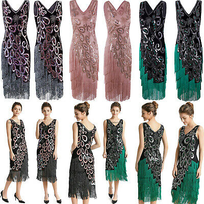 Ladies 1920s 20s Roaring Flapper Costume Sequins Gatsby Fancy Dress Party Gowns