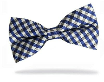GIFTS FOR MEN Pre-Tied Checked Adjustable Checks Mens Work Bow Tie Blue White